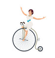 girl acrobat on bicycle circus carnival show vector image vector image