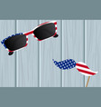 glasses and mustache design of the american flag vector image vector image