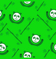 green panda and bamboo seamless pattern vector image