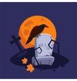 Halloween Raven Sitting on a Gravestone vector image vector image