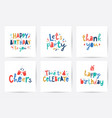 happy birthday set cards with lettering vector image vector image