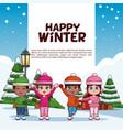 happy winter poster vector image