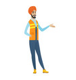 hindu builder with arm out in a welcoming gesture vector image vector image