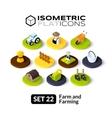Isometric flat icons set 22 vector image