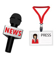 Microphone and lanyard badge vector image vector image