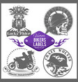 motorcycle set with vintage custom logos vector image vector image