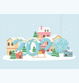 new year 2020 greeting card decorative town lights vector image