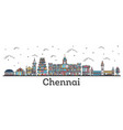 outline chennai india city skyline with color vector image vector image