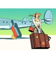 Pretty girl the tourist arrived vector image vector image