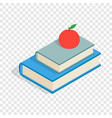 red apple and two books isometric icon vector image