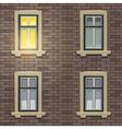 Retro Building Facade At Night Time vector image vector image