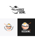 rice bowl icon with spoon vector image vector image