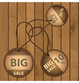 sale paper brown circle icons on wooden board vector image