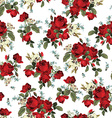 Seamless floral pattern with red roses on white vector image vector image