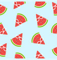 seamless watermelon slice smiling with glasses vector image vector image