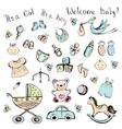 set newborn baby items vector image