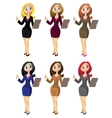 Set of bisness woman in color variant vector image vector image