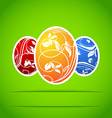 Set of Easter colorful ornate eggs vector image vector image