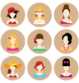 Set of Flat Icons with Women Characters vector image vector image