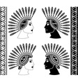 set of mayan woman profiles vector image vector image