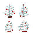 set scandinavian christmas trees nordic vector image
