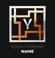 silver letter y logo in silver-golden square maze vector image
