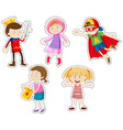 Sticker set of girls and boys vector image