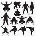 sumo silhouettes vector image vector image