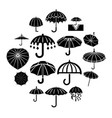 umbrella icons set simple style vector image vector image