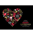Valentines day greeting card vintage icon love vector image