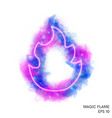 watercolor magic fire torch with neon counter vector image