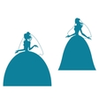 Young bride silhouette in wedding dress vector image vector image