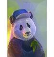 Cool panda rapper in polygonal style vector image