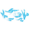 set of 3d blue arrows vector image