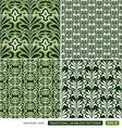 Vintage ornamental green backgrounds set vector image