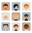 Set of Men Faces Icons in Flat Design vector image
