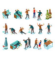 alcoholism isometric icons set vector image vector image