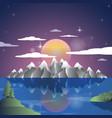 alps landscape sunset cartoon background vector image vector image