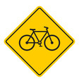 bike road yellow sign vector image vector image