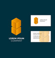 business card template with yellow cube logo vector image vector image