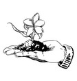 cartoon image of flower growing in palm of hand vector image vector image