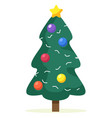christmas tree with baubles garlands and star vector image vector image