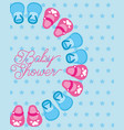 cute little shoes baby shower card dots background vector image vector image