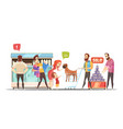 family in supermarket design concept vector image
