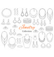fashionable jewelry collection hand drawn vector image