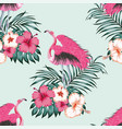 flamingo seamless tropical pattern blue background vector image vector image