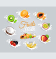 fruits and milk inscription in center on grey vector image