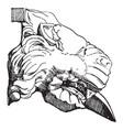 gargoyle lion head open mouth vintage engraving vector image vector image