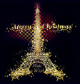 golden silver glitter particles card eifel tower vector image