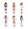 group of girls characters vector image vector image